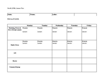UPK Lesson Plan Template