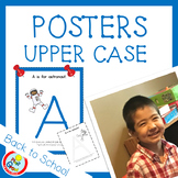 UPPER CASE Posters with Coloring Pages - BLUE (pdf and png)