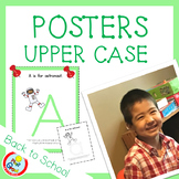 UPPER CASE Posters with Coloring Pages - LIGHT GREEN (pdf and png)