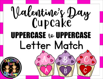 UPPERCASE to UPPERCASE Valentine's Day Cupcake Letter Match