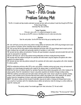 Third - Fifth Problem Solving Mat 8.5x11 (TEKS 3.4A, 3.4K, 4.3E, 4.4H, 4.5A)