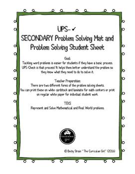 UPS-Check Problem Solving Mat & Student Sheet for Secondaryt