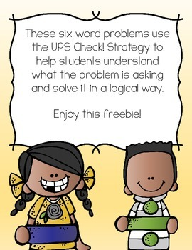 UPS Check Word Problem Freebie
