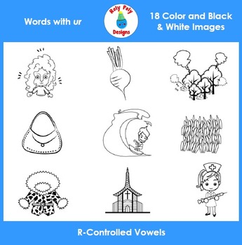 UR R-Controlled Vowels Phonics Clip Art Set by Roly Poly Designs