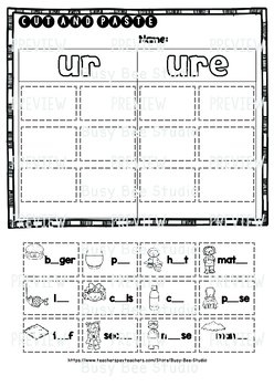 UR  URE Sorts | Cut and Paste Worksheets