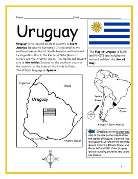 URUGUAY - Printable handouts with map and flag to color