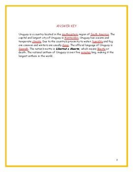 URUGUAY - Fact Sheet and Cloze Activity