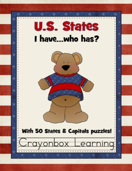 U.S. 50 States - I Have, Who Has Game and States & Capitals Puzzles