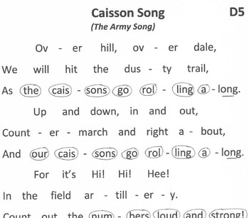US ARMY SONG Easy Chimes & Bells Arrangement CAISSON SONG