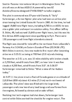 US Airways Flight 1549  - Miracle on the Hudson Handout