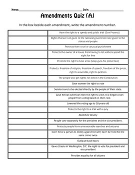 US Amendments Activities and Quizzes