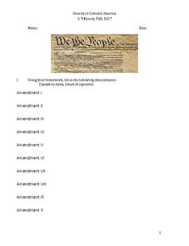 US Amendments worksheet