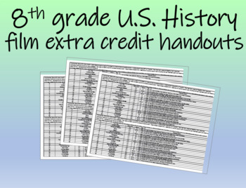 8th grade U.S. History film extra credit handouts (20 choices)