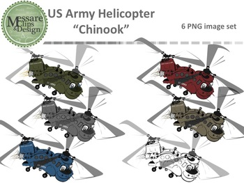 US Army Helicopter Chinook Set {Messare Clips and Design}
