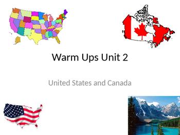 US & Canada Culture Warm Ups