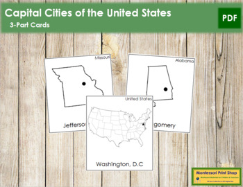 US Capital Cities: 3-Part Cards (B/W)
