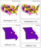 US Capital Cities: 3-Part Cards (color-coded)