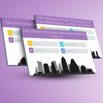 GEOGRAPHY: US Cities Trivia [Interactive PowerPoint Quiz Game]