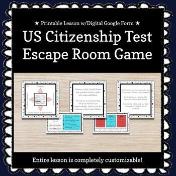 US Citizenship Test Customizable Escape Room / Breakout Game