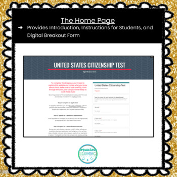 US Citizenship Test Digital Escape Room / Breakout Game