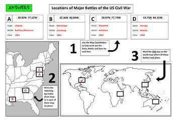 US Civil War Battles, Mapping Locations activity
