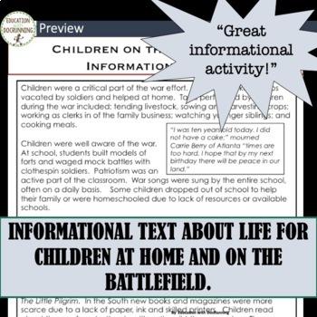 Civil War Children of the Civil War Activity and Informational Text