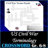 US Civil War - Crossword Puzzle Activity Worksheet