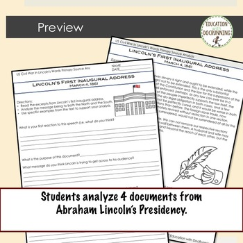 US Civil War Primary Source Analysis includes 4 documents.  Great for Stations!