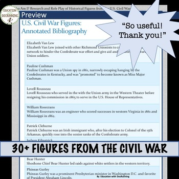 Civil War Research and Role Play Project for American History