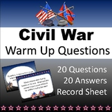 US Civil War Warm Ups (Bellringers)