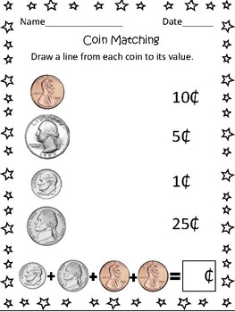 us coin matching worksheet by mrs murphys kinder kids tpt. Black Bedroom Furniture Sets. Home Design Ideas