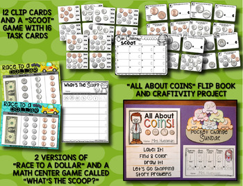 US Coins --- Books, Posters, Clip Cards, SCOOT, Flip Book, Craftivity and MORE