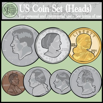 US Coins Clipart Set Heads & Tails {Messare Clips and Design}