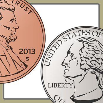 US Coins Color Cents, Pennies, Dimes, Quarters Clip Art Commercial Use