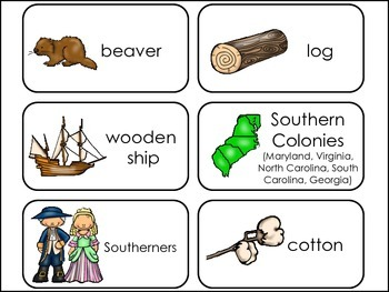 US Colonies Picture Word Flash Cards.