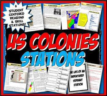 US Colonies Stations Activity with Graphic Organizer & Foldable Option