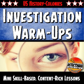 US Colonies Unit Warm-Ups Skill Based, Mini Lessons, Bell Ringers Activities