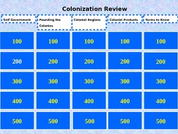US Colonization Review Game
