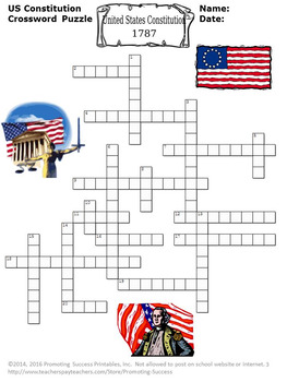 Constitution Day Activities, US Constitution Worksheets, Crossword Puzzle