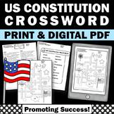 US Constitution Day Activities, Social Studies Crossword Puzzle