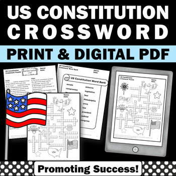 U.S. Constitution Day Crossword Puzzle for kids