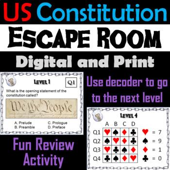 US Constitution Escape Room - Social Studies