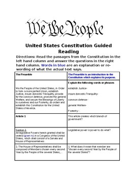 US Constitution Guided Reading