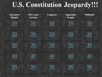 U.S. Constitution Jeopardy Review Game