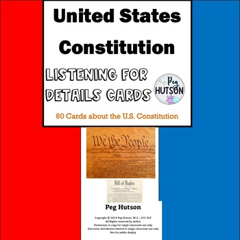 U.S. Constitution Listening Comprehension Cards