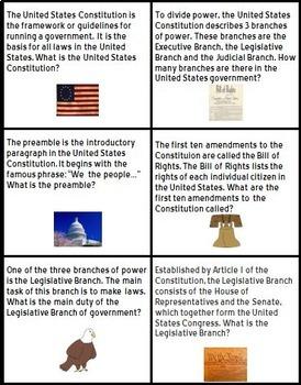 U.S. Constitution Listening Comprehension Cards