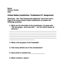US Constitution Packet