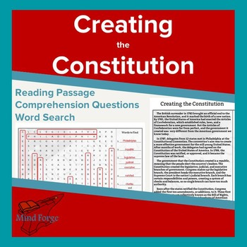 US Constitution Passage, Questions, and Word Search