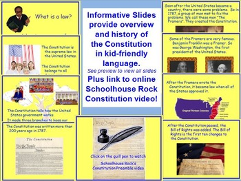Constitution Day PowerPoint Lesson w/ worksheets K-3