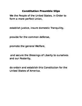 U.S. Constitution Preamble Close Reading and Rewrite Lesson